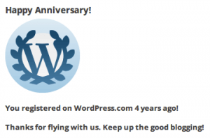 WordPress.com four year registration anniversary notification