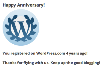 WordPress four year registration anniversary notification