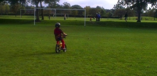 My son cycling without stablisers